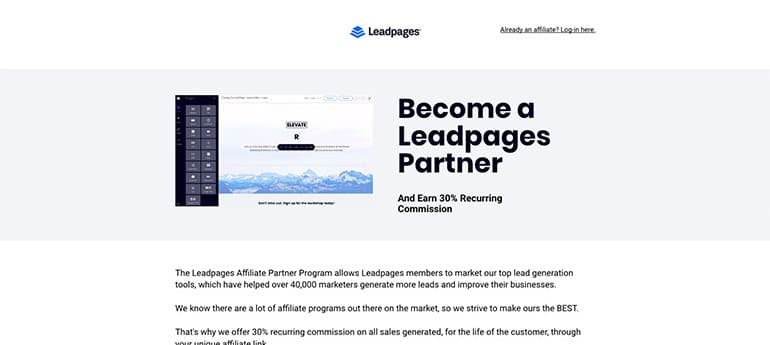 leadpages recurring earning affiliate program