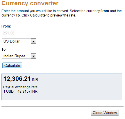 Currency Conversion PayPal from USD to INR
