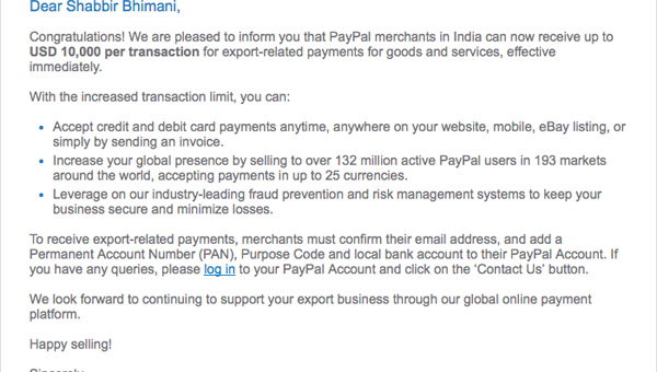 PayPal India Per Transaction Limit Increased from 3,000 to 10,000