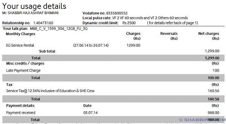 Vondafone August Bill Usage Details
