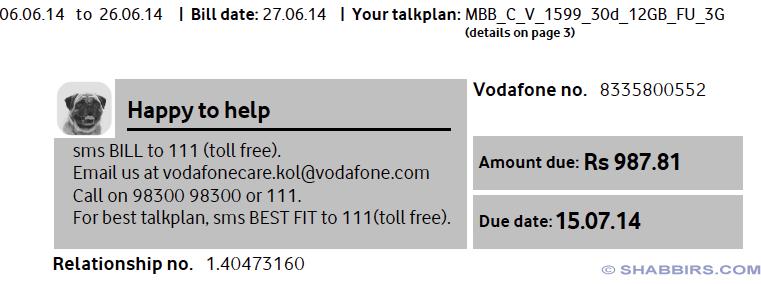 Vodafone July Bill