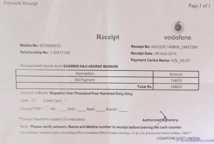 Vodafone Final Payment
