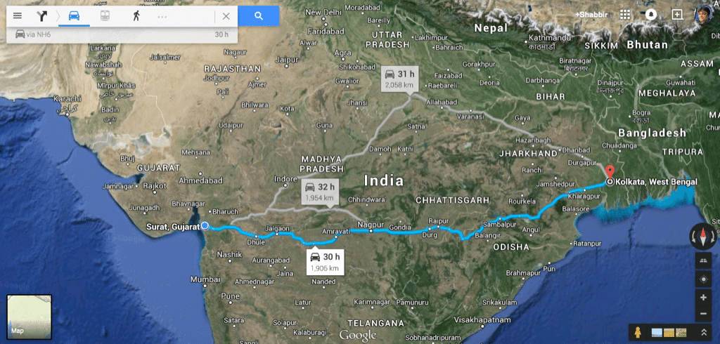 Kolkata to Surat Map