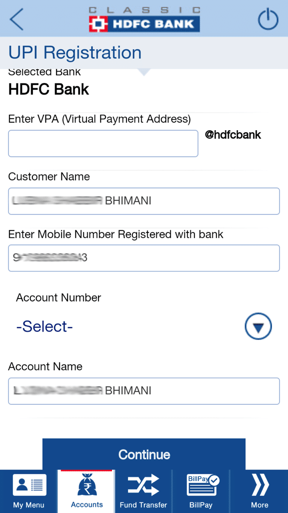 UPI Registration HDFC Bank