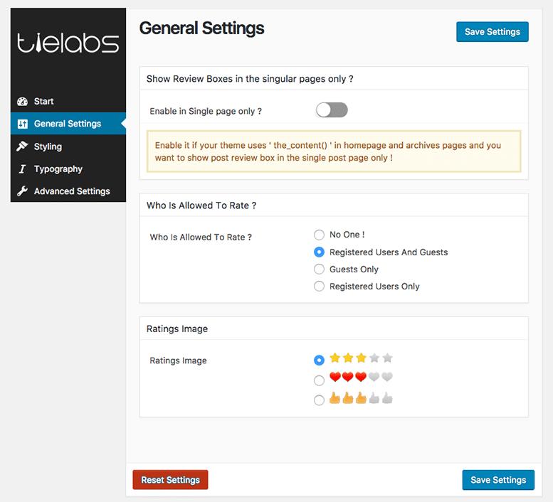 Taqyeem general settings
