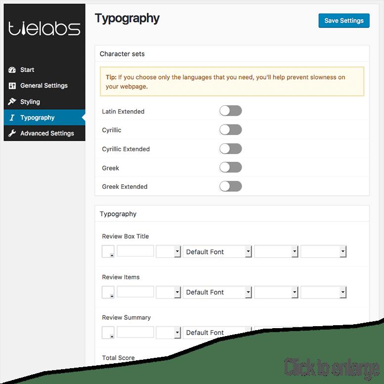 Taqyeem typography options