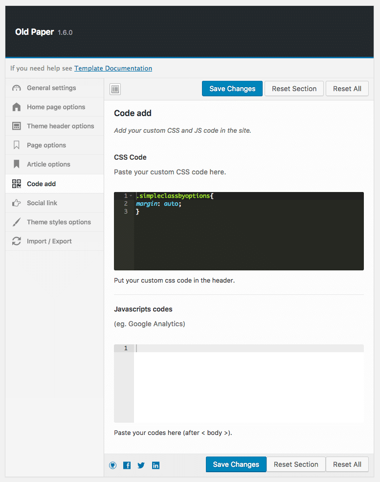 custom css and code options in oldpaper theme admin area