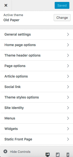 support for customize options in WP