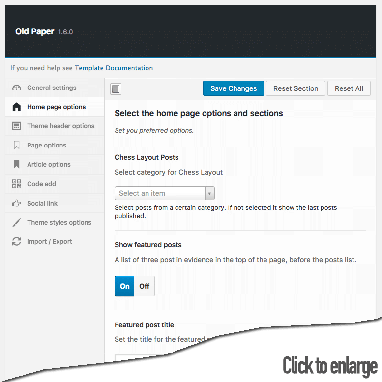 oldpaper home page options