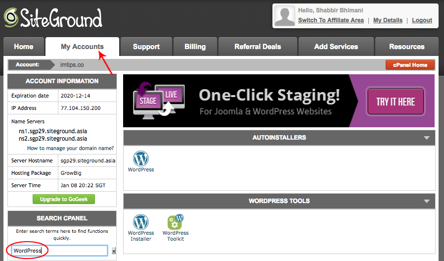 WordPress in cPanel to Start a blog