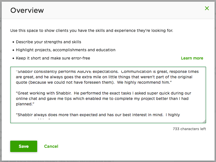Add Overview to Upwork Profile for Better Approval