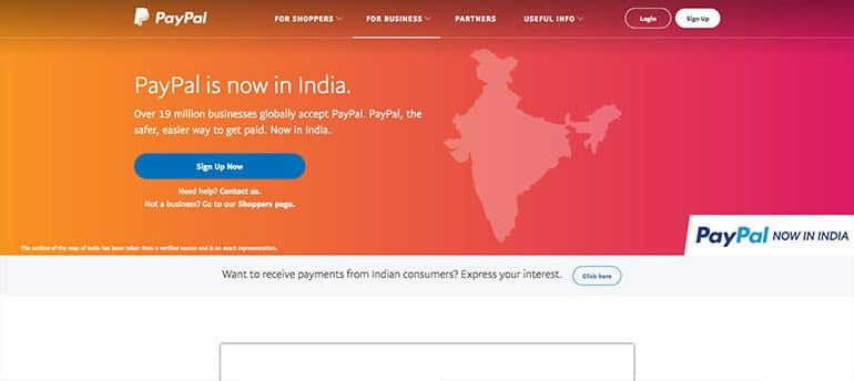 PayPal to Receive Payments in India