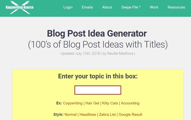 Kopywriting kourse blog title generator