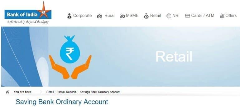 Bank of India Saving Bank Ordinary Account.