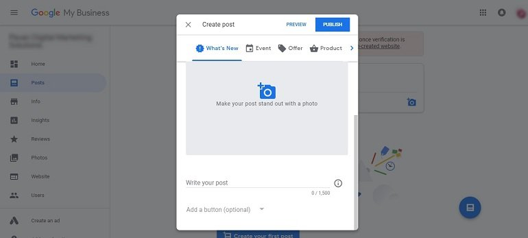 Create post in google my business dashboard
