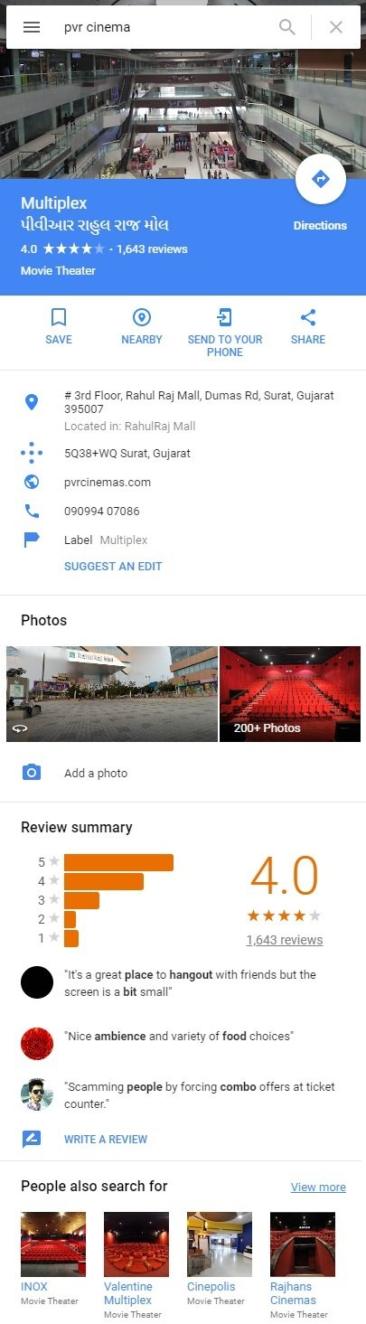Google business listing in Google Maps
