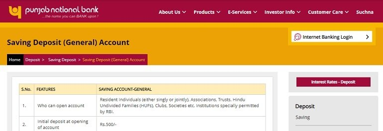 PNB Saving Deposit (General) Account