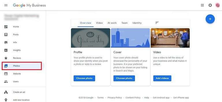 Photos on google business page