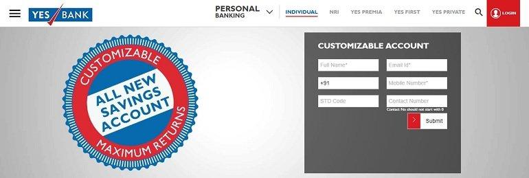 Yes bank customizable savings account