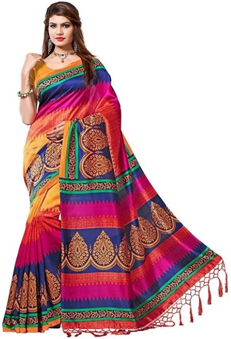 e vastram Women's Mysore Art Silk Saree with Blouse Piece