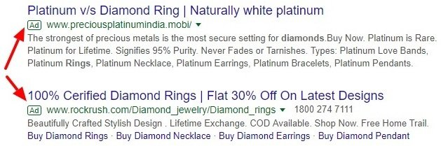 Google text ads example
