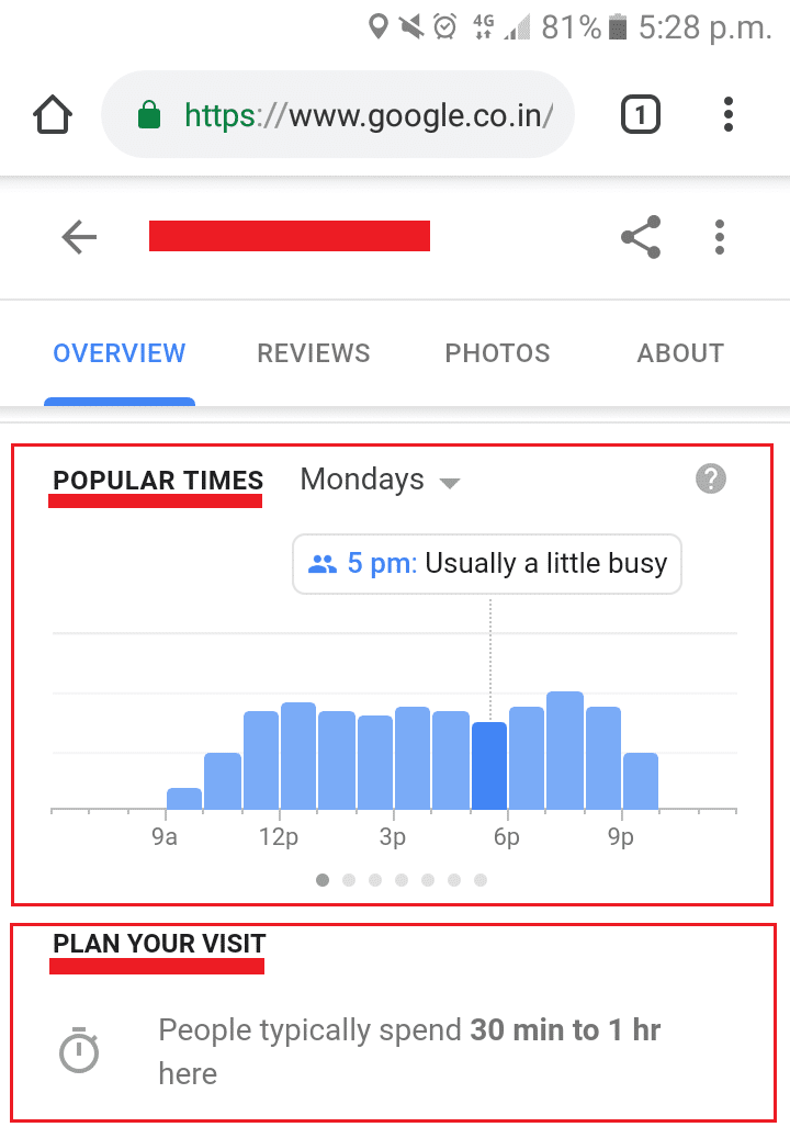 mobile search result on google
