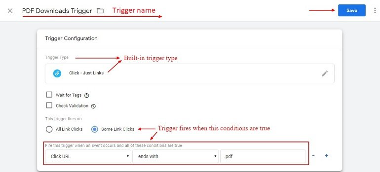 PDF download trigger using google tag manager