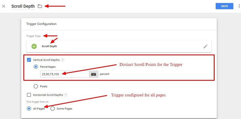 Scroll Depth trigger using google tag manager