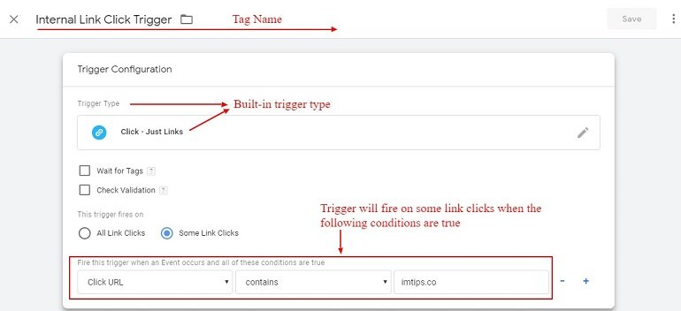 internal link click trigger in gtm