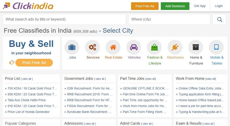 clickindia free classified ads