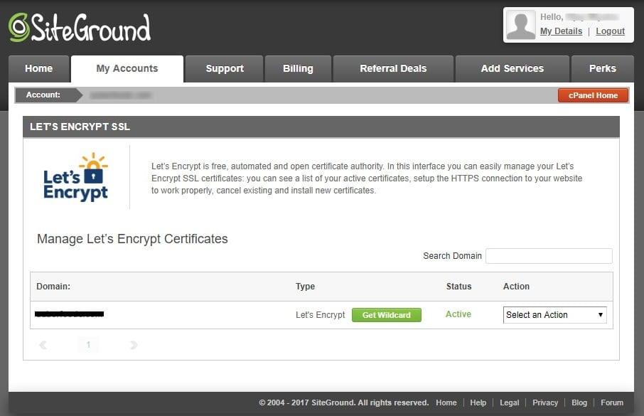 SSL certificate installed