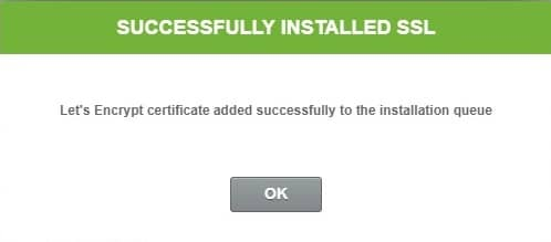 successfully ssl certificate installed message