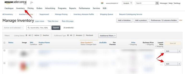 Manage Inventory under Inventory tab to edit product title
