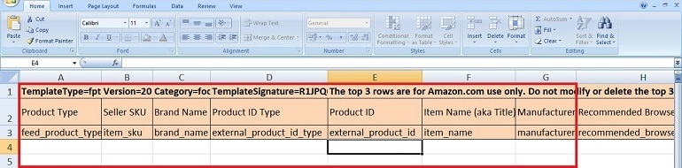 excel file template add ASINs to change titles