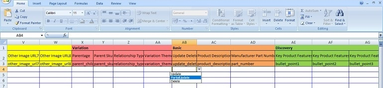 excel file template partial updates