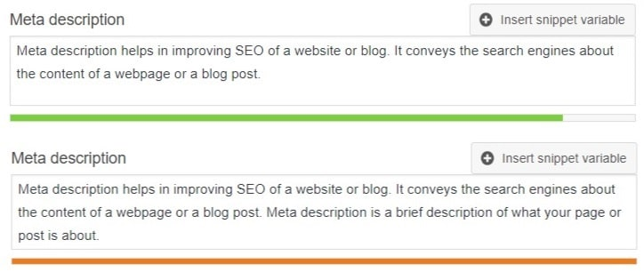 Meta description length in green and orange color
