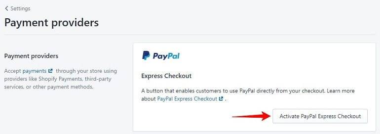 PayPal setup in shopify