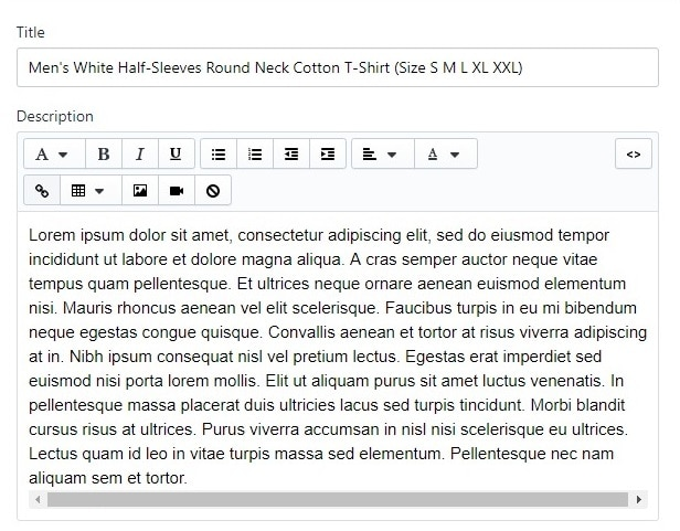 Product title & description