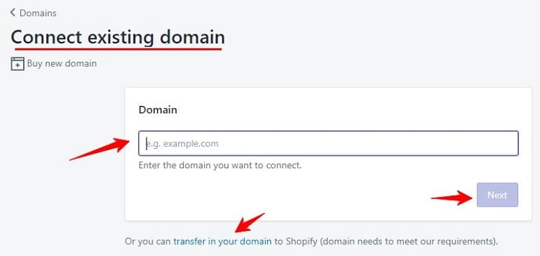 connect existing domain in shopify store