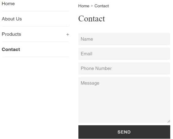 contact page in shopify