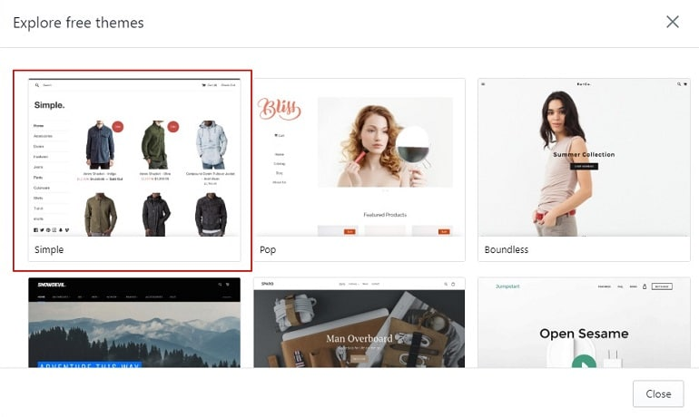 explore free themes in shopify account