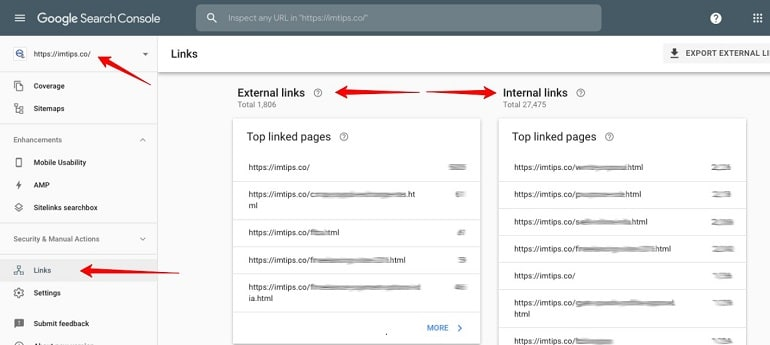 internal & external links in google search console