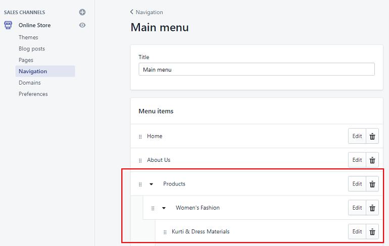 main header menu in shopify account