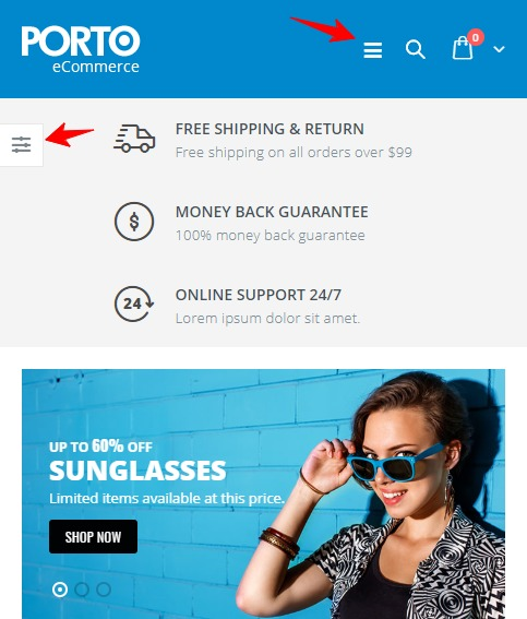 porto multipurpose business and woocommerce theme mobile version