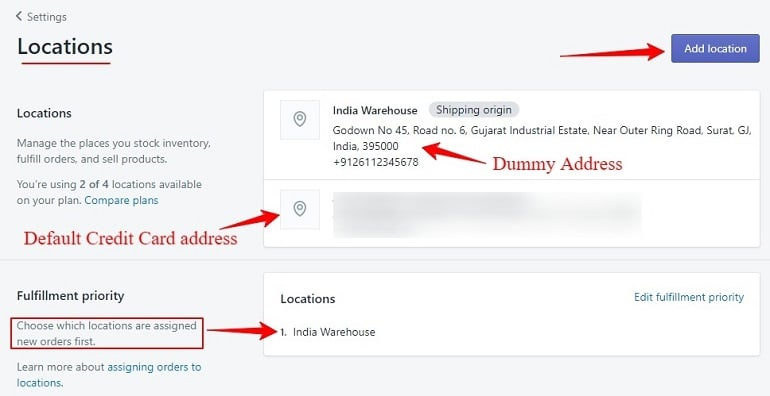 setting up location under shipping settings