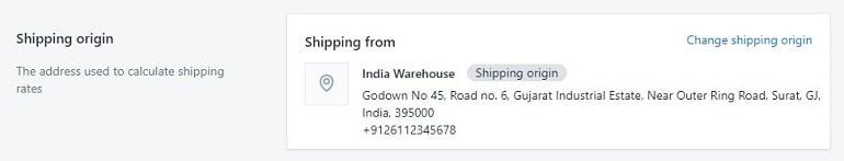 shipping origin in shopify