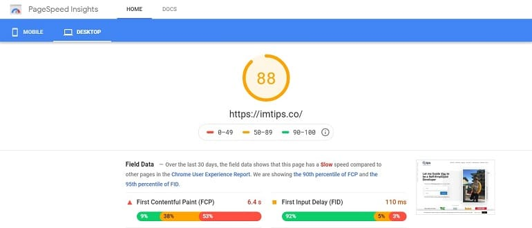 Google page speed insights for imtips.co