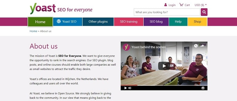 Yoast seo about us page
