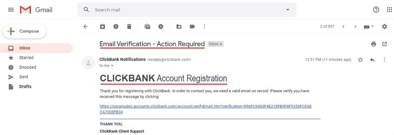 email verification for Selling as a Vendor With Clickbank