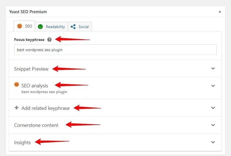 seo analysis tool in yoast seo plugin